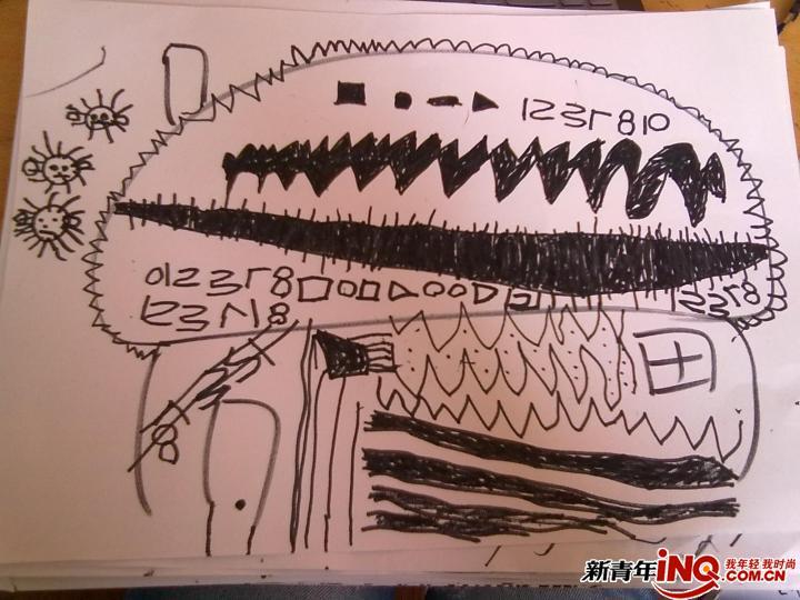 中班孩子线描画