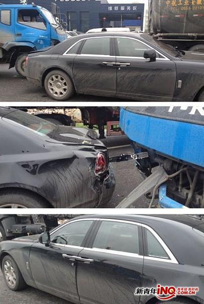 今天去温州玩,刚好碰到劳斯莱斯被拖拉机撞高清图片